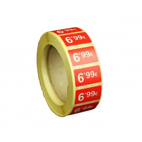 Etiquetas de precios 6,99 € para tiendas 25x15mm