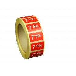Etiquetas de precios 7,99 € para tiendas 25x15mm
