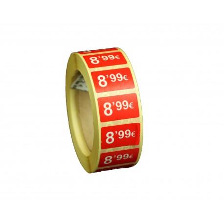 Etiquetas de precios 8,99 € para tiendas 25x15mm
