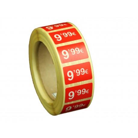 Etiquetas de precios 9,99 € para tiendas 25x15mm
