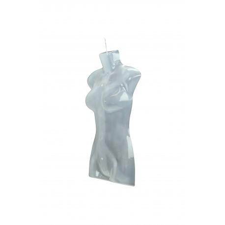 Busto de mujer de plástico transparente