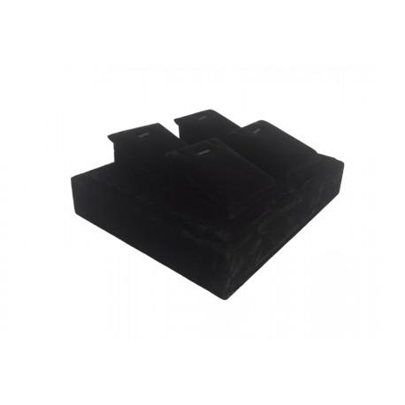 Bandeja expositora para joyería en terciopelo negro 16x19 cm