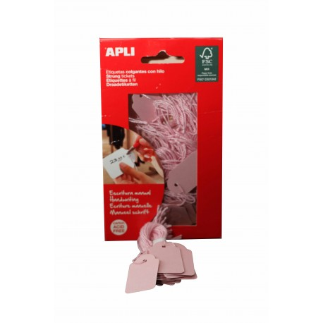 Etiquetas para tiendas rectangular de hilo rosas 22x35mm