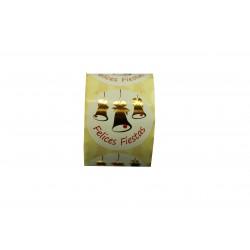 Etiquetas adhesivas para regalos mensaje felices fiestas estampado campanas oro