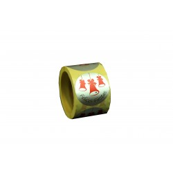 Etiquetas adhesivas para regalos mensaje felices fiestas estampado campanas rojo