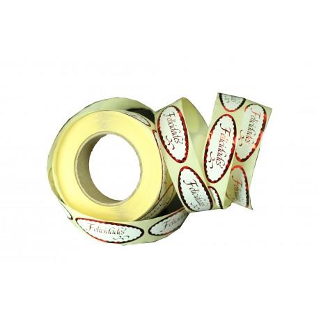 Etiquetas adhesivas para regalos mensaje felicidades rojo metalizado