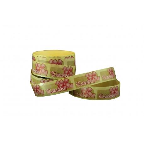Etiquetas adhesivas para regalos mensaje felicidades estampado lazo rosa