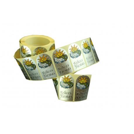 Etiquetas adhesivas para regalos mensaje felicidades estampado sol