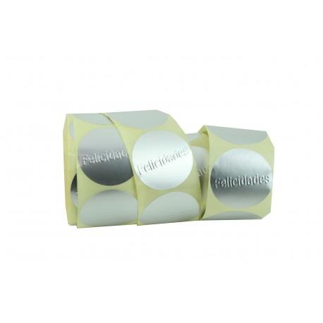 Etiquetas adhesivas para regalos plata