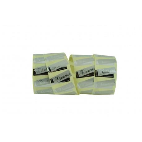 Etiquetas adhesivas para regalos plata brillo