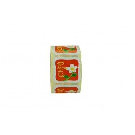 Etiquetas adhesivas para regalos con dibujo y fondo naranja