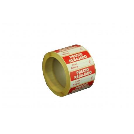 Etiqueta precio rebajado blanco y rojo