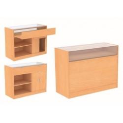 Mostrador de madera y cristal para tienda color abedul 120x50x90cm