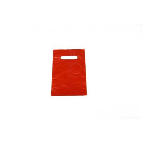 Bolsas de plástico asa troquelada roja 16x25cm