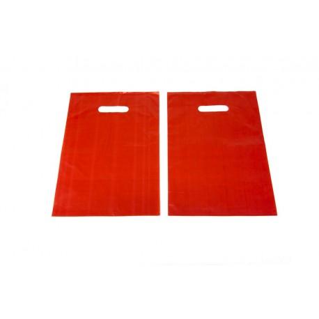 Bolsas de plástico asa troquelada roja 25x35cm