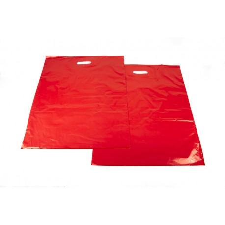 Bolsas de plástico asa troquelada roja 50x60cm