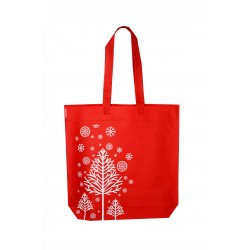 Bolsa de tela roja estampado navideño 40x42cm