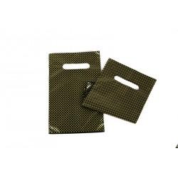 Bolsas de plástico asa troquelada negra puntos dorados 16x25cm