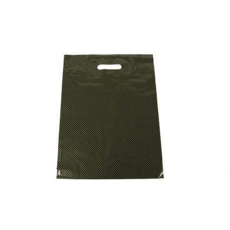 Bolsas de plástico asa troquelada negra puntos dorados 35x45cm