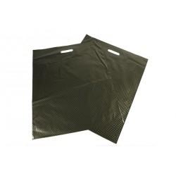 Bolsas de plástico asa troquelada negro puntos dorados 50x60cm