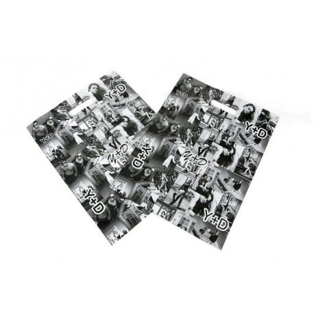 Bolsas de plástico asa troquelada fotos blanco/negro 25x35cm