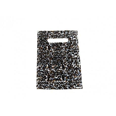 Bolsas de plástico asa troquelada estampado leopardo 16x25cm