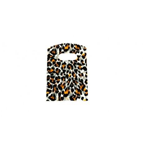 Bolsas de plástico asa troquelada estampado leopardo 9x15cm