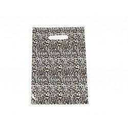 Bolsas de plástico estampado leopardo asa troquela de 25x35cm