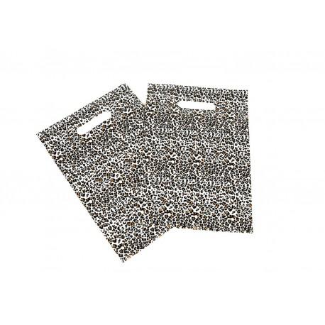 Bolsas de plástico estampado leopardo asa troquelada de 25x35cm