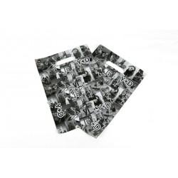 Bolsas de plástico asa troquelada fotos blanco/negro 35x45cm
