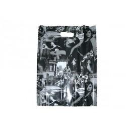 Bolsas de plástico asa troquelada fotos blanco/negro 45x35cm