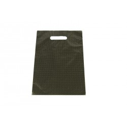 Bolsas de plástico asa troquelada negra puntos dorados 25x35cm