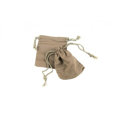 Bolsa de lino marrón cierre cordón 11x9.5cm