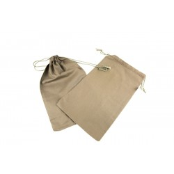 Bolsa de lino marrón con cierre cordón 35x21cm