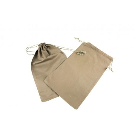 Bolsa de lino marrón cierre cordón 35x21cm