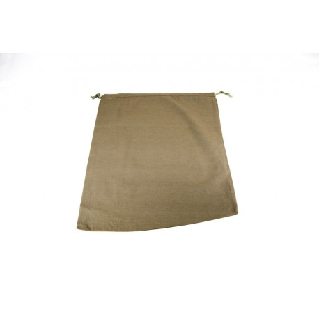 Bolsa de lino marrón cierre cordón 38x4cm