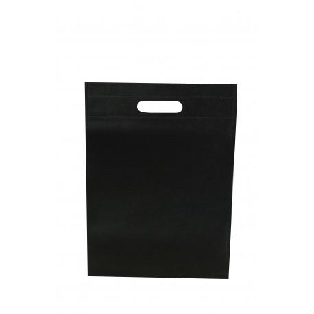 Bolsa de tela asa troquelada negra 25x35cm