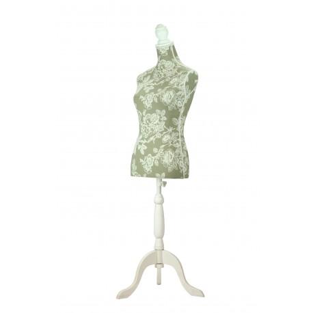 Busto de mujer en tela estampado floral con copa y pie de madera blanco