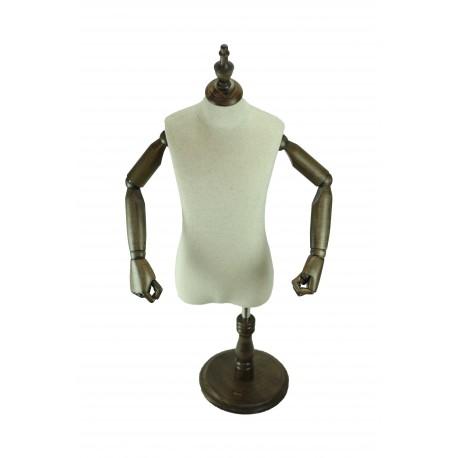 Busto infantil en tela regulable con brazos articulados