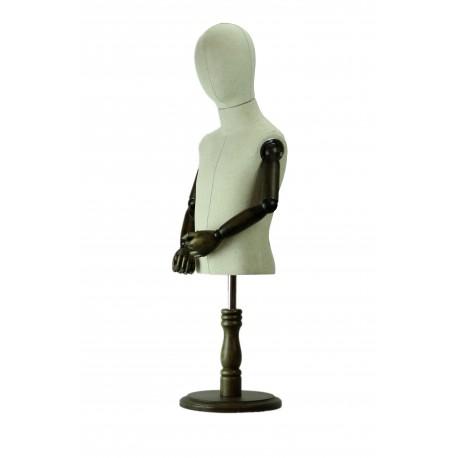 Busto infantil en tela regulable con cabeza y brazos articulados