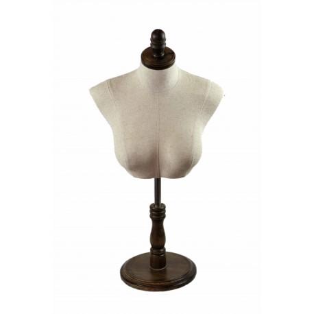 Busto superior de mujer en tela beige con copa y base madera regulable