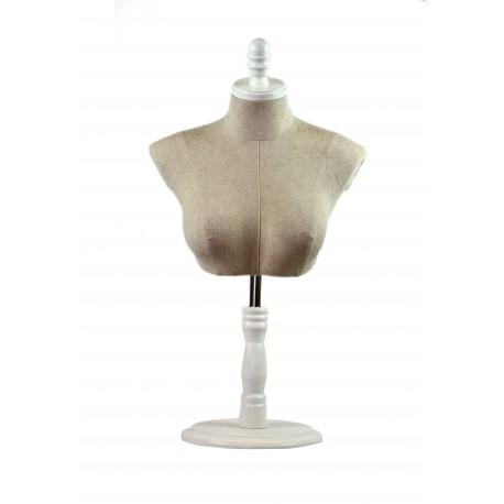 Busto superior de mujer en tela beige con copa y base regulable blanca