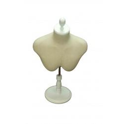Busto superior de hombre en tela beige con copa y pie regulable blanco