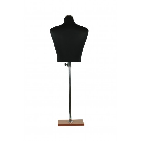 Busto medio cuerpo de mujer regulable negro base madera