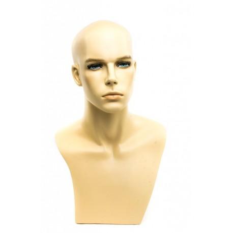 Maniquí cabeza hombre plástico color carne