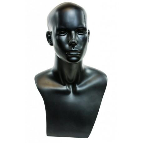 Cabeza de hombre fibra de vidrio negro mate