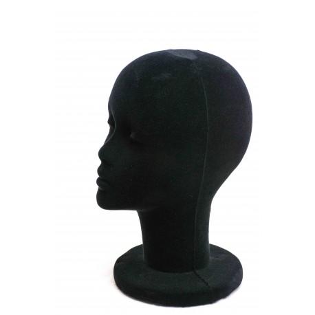 Maniquí cabeza mujer corcho revestido terciopelo negro