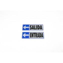 Cartel entrada a la izquierda azul 17.5x6cm
