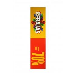 Cartel de rebajas 70% horizontal rojo y amarillo