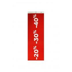 Cartel rebajas 20% 30% 40% rojo oscuro
